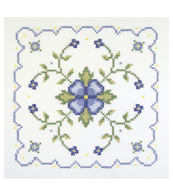 Janlynn Blue And Yellow Geometric Quilt Blocks Stamped Cross Stitch Kit
