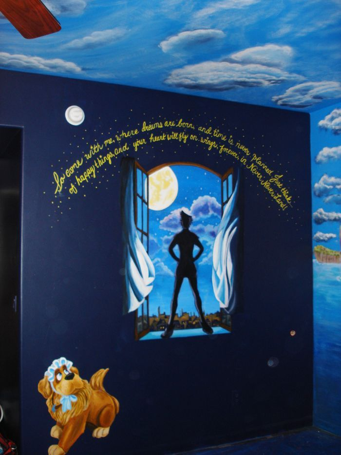 peter pan bedroom mural with nana