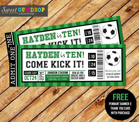 Soccer Ticket Invitation - Printable - FREE pennant banner and thank you card with purchase