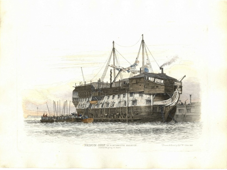 Prison-Ship in Portsmouth Harbour, convicts going on board | Richardsmithrarebooks