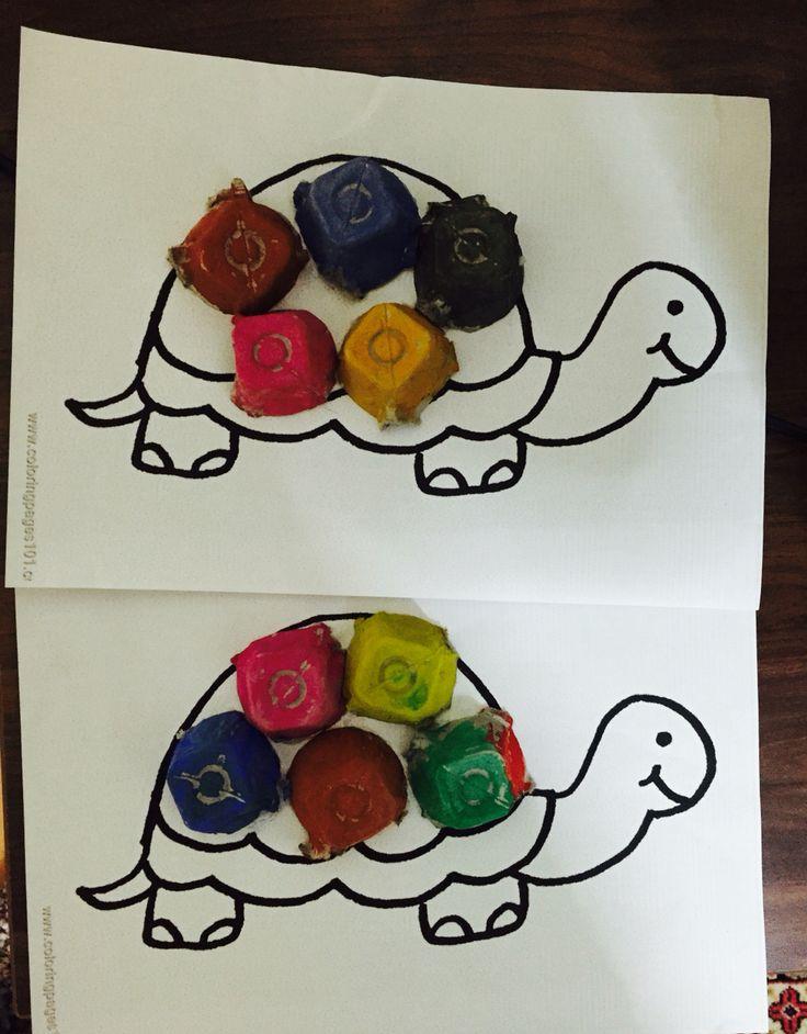 Yumurta kolisini boyadık rengarenk sırtı olan bir kaplumbağa yaptık