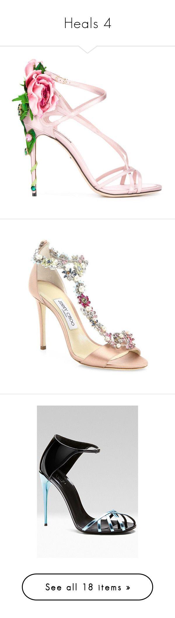 """Heals 4"" by thesassystewart on Polyvore featuring shoes, sandals, heels, high heel stilettos, pink stilettos, ankle strap heel sandals, floral shoes, pink heeled shoes, jimmy choo shoes and heeled sandals"