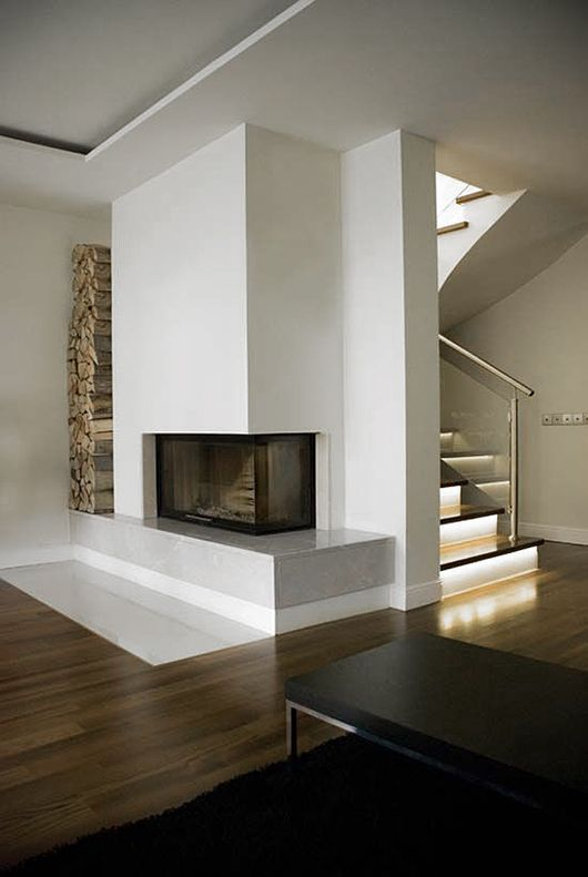 Corner Fire place with bench surround