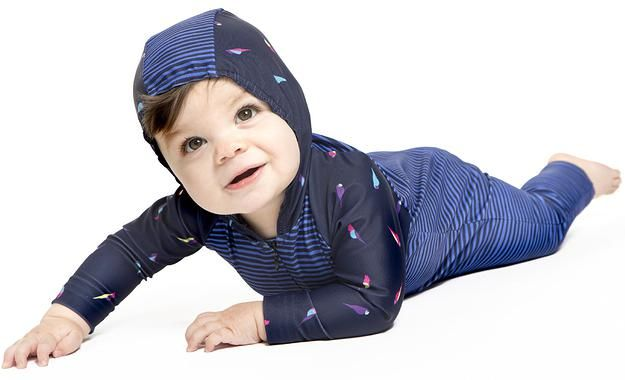 Baby Boy Hooded Swim Onsie UPF 50+  Mini Parrot/Hand Drawn Stripe *also available in Girls version, Mini Parrot with Orchid and Teal colour blocking.