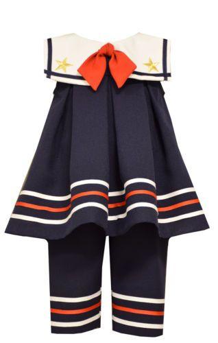 Bonnie Jean Girls Navy Sailor Nautical Patriotic Dress Outfit Capri 12M 18M 24M