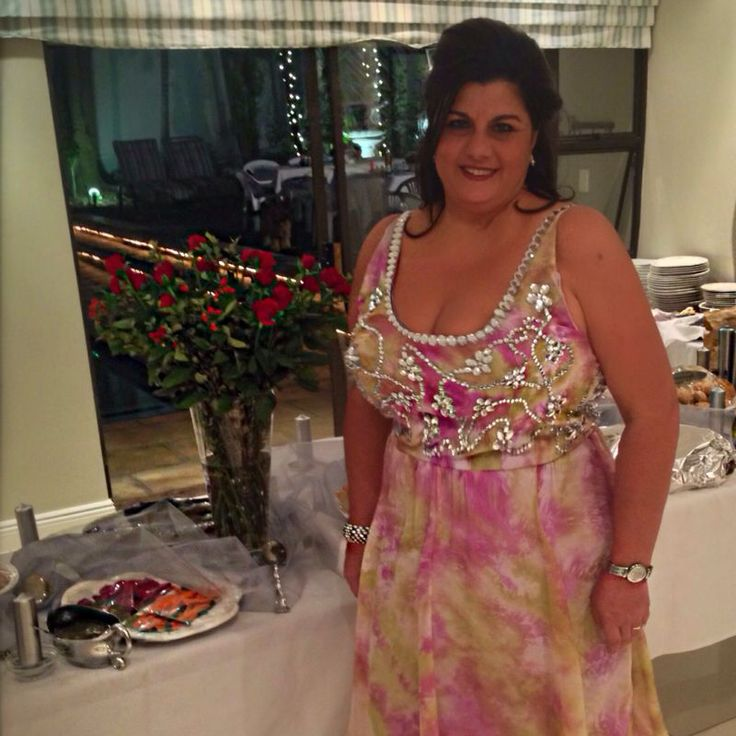 My Beautiful Mom in the summer beaded dress I made for her 25th wedding anniversary