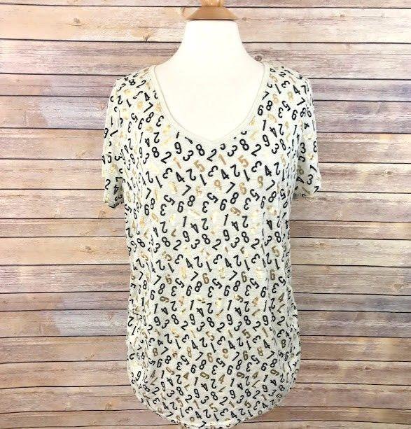 34c7c4ee3ce0 Lane Bryant Womens V-Neck Top Number Print Gold Metallic Plus Size 18 20 T- Shirt