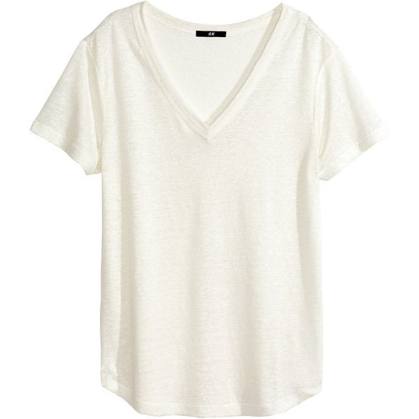H&M Linen T-shirt ($12) ❤ liked on Polyvore featuring tops, t-shirts, shirts, tees, white, white shirt, white v neck t shirt, white t shirt, linen tee and v neck t shirts