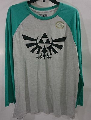 THE LEGEND OF ZELDA Men's Green Gray Long Sleeves Shirt Nintendo XL / 2XL NWT