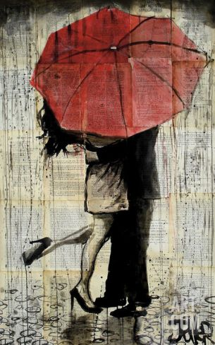 The Red Umbrella Art Print by Loui Jover at Art.com