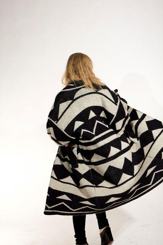 vintage geometric coat