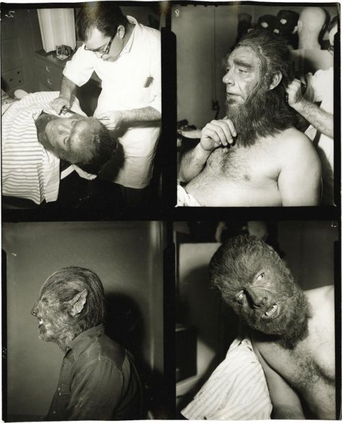 "Classic Movie Monsters: Various shots of Lon Chaney, Jr. getting his make-up applied for ""Abbott and Costello Meet Frankenstein"".  The shot in the bottom left corner is a test make-up not used in the final production."