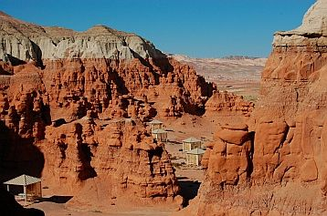 The fabulous campground at Goblin Valley, Utah, where you can camp  in a tent or RV surrounded by incredible red rock formations.  http://roadslesstraveled.us/goblin-valley-utah/