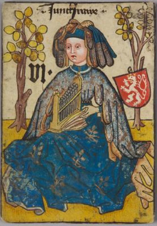 "Jungfrau [Virgo] Böhmen [Bohemia], ""Hofämterspiel"" for King Ladislas ""Posthumus"", c. 1455"