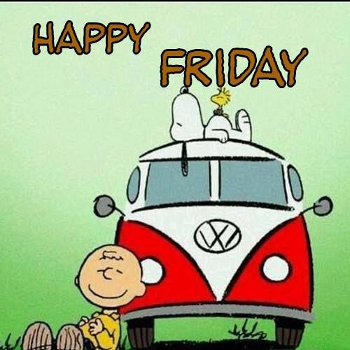 """Snoopy, Charlie Brown and VW bug say """"Happy Friday!"""""""