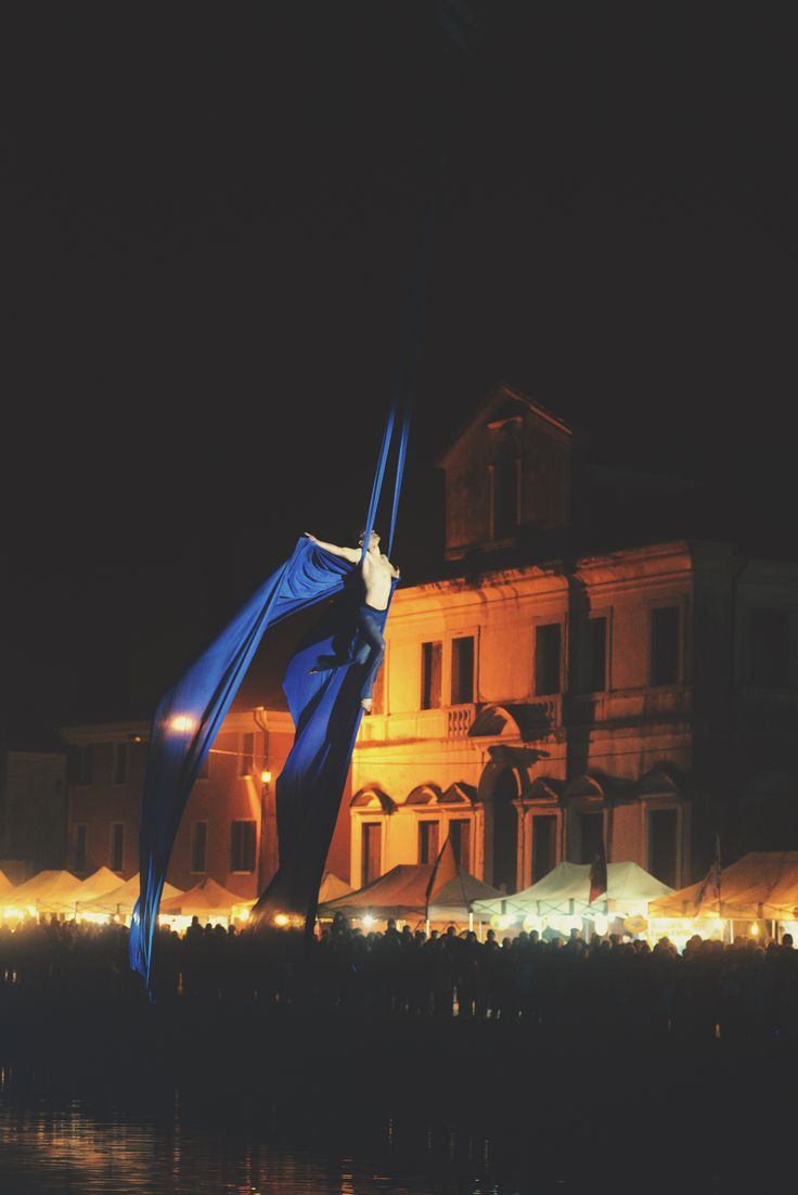 "Nico Gattullo performs aerial silks during his show ""DREAM"" over Naviglio Brenta in Mira (Venice). Ph. Angelo Frontin"