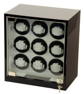 Nine Watch Winder Wood w/Digital LCD Display Powered w/Mabuchi Motors Belocia. $449.95. 5 timer settings 650, 900, 1200, 1500 and 1800 TPD (Turn Per Day).. Rotates clockwise, counter-clockwise or alternate.. Nine turntables each one can be set to different settings. With Digital LCD Dispaly and Touch Control Board. Ebony color piano finish with multi layers of polyurethane.