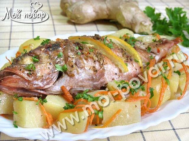 Морской окунь запеченный с картофелем