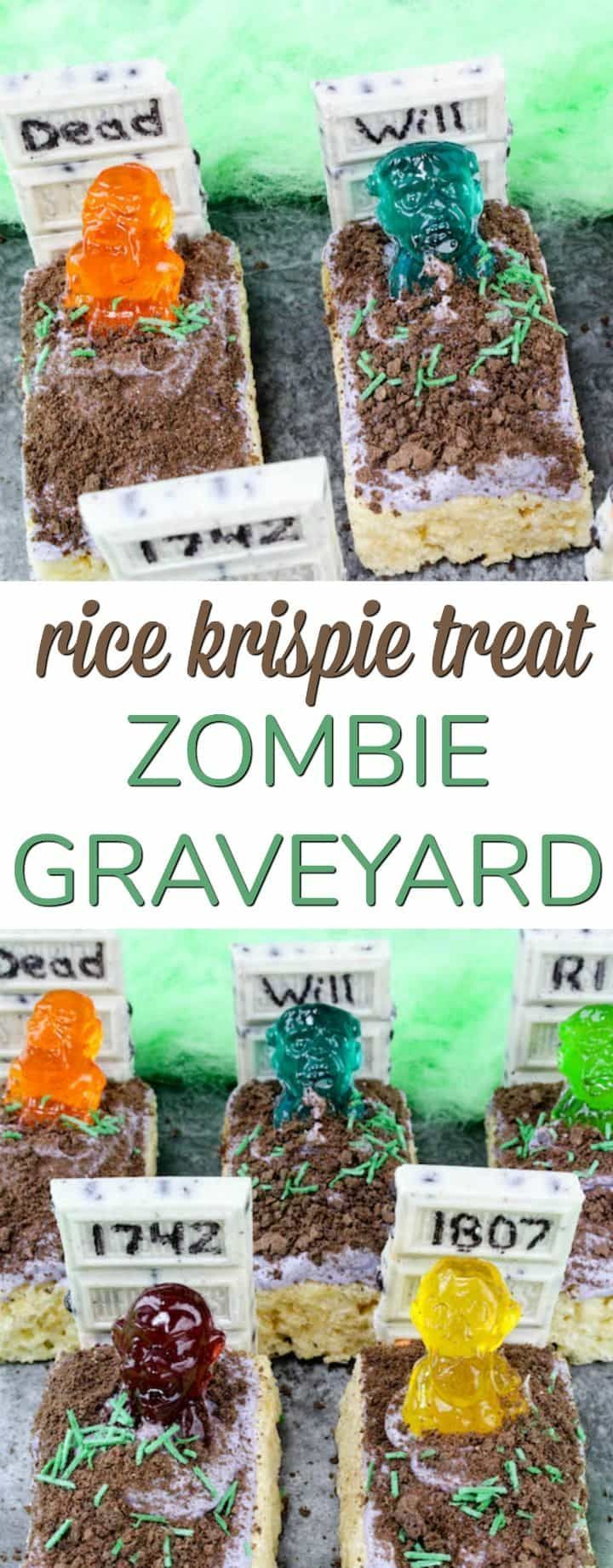 Easy Halloween Dessert - Rice Krispie Treats Zombie Graveyard! Perfect for a classroom party project or treat!