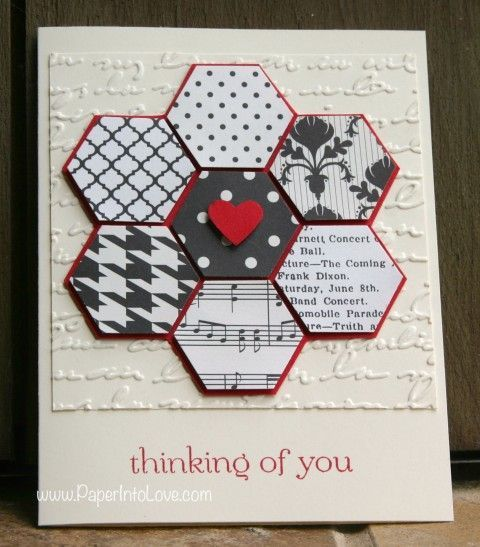 stampin+up+hexagon+cards | Stampin' Up Handmade Hexagon Flower Card