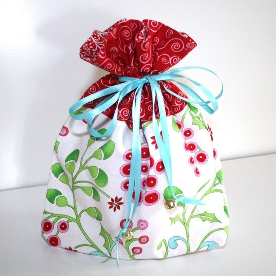 Small Reusable Holiday Fabric Gift Bag or Project Bag - Eco-Friendly ...