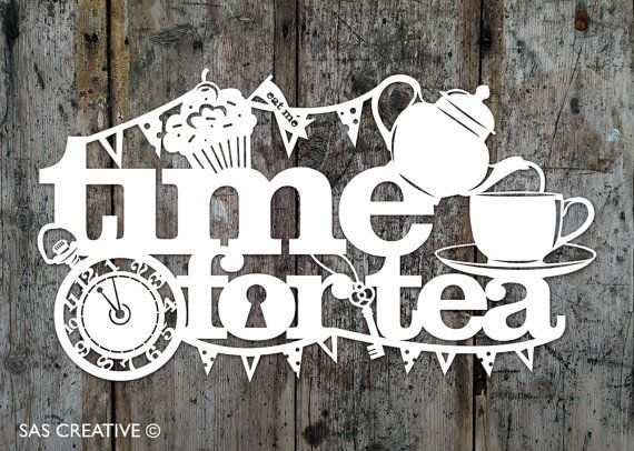 Papercut Template PDF SVG 'Time for Tea' Printable by SASCreative