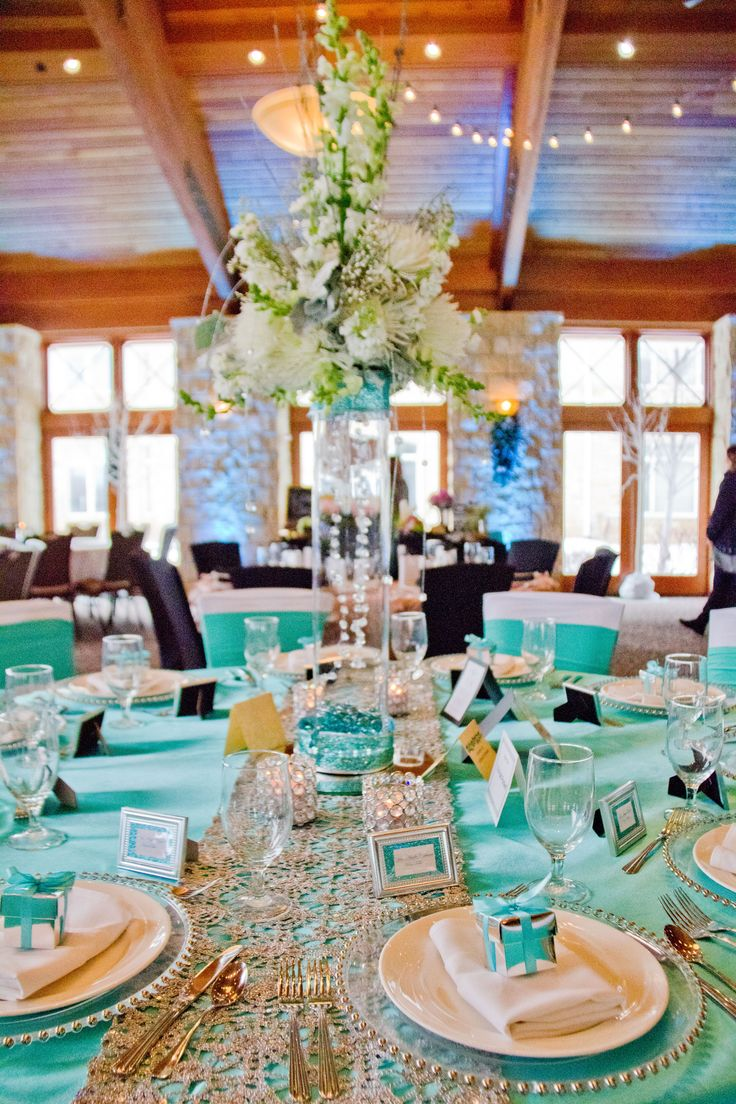 Tiffany Blue Satin Overlay, Silver Chemical Lace Table ...