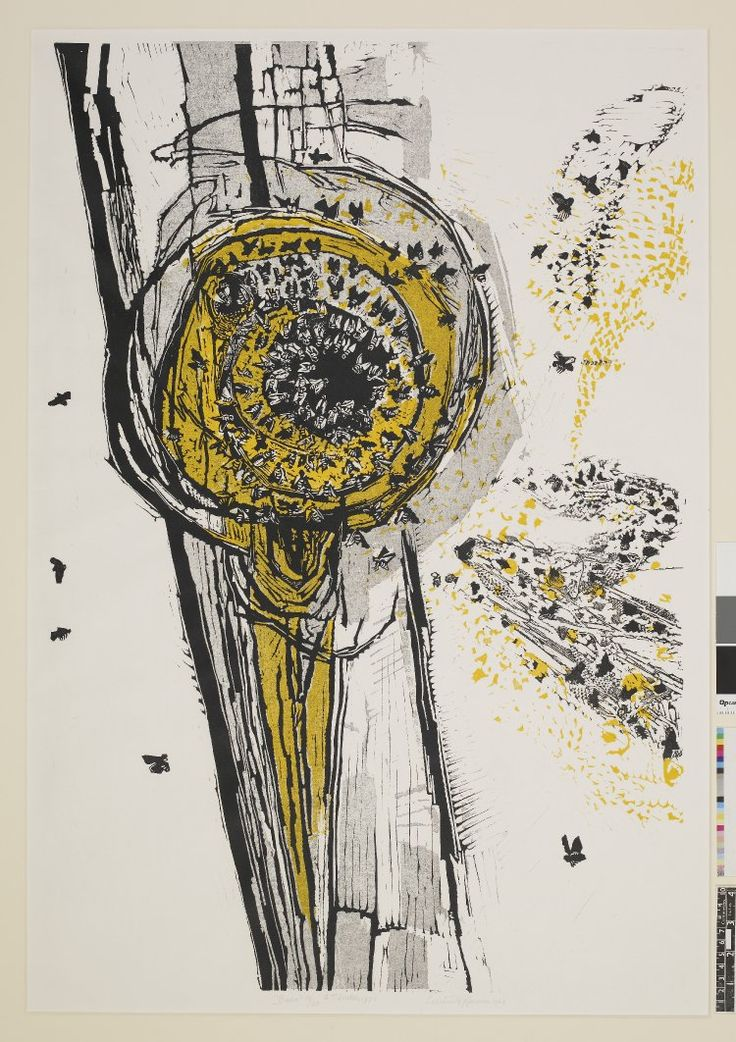 Bees swarming round nest. 1963 Colour woodcut, printed in black and yellow (Gertrude Hermes)