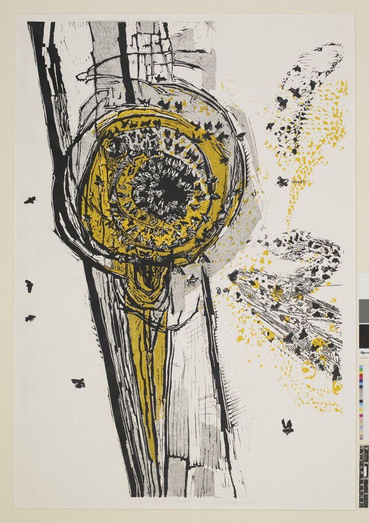 Gertrude Hermes: Bees swarming, linocut
