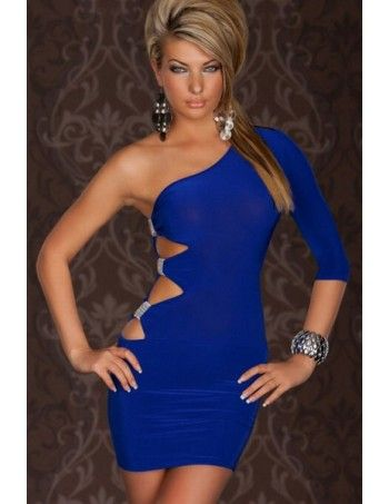 GOGO Blue Sexy One Arm Mini Club Dress is a Fantastic one-arm Dress in tight-fitting shape! Links with 3/4 long sleeves that is gathered at the fashionable shoulder! Sexy cutouts with glamorous ribbon-Raff in Strass-look at the top of the right side seam!  Pair with sexy high heels or pumps for a glamorous night out.