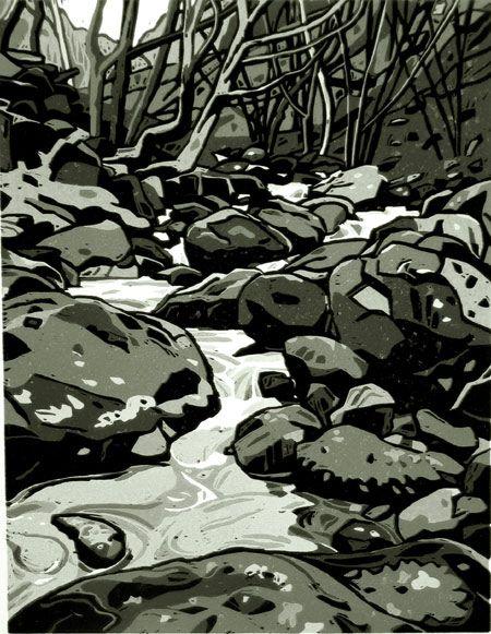 Mi ddaw yr Haf (Summer will come) - Linocut (5 colour) by Ann Lewis