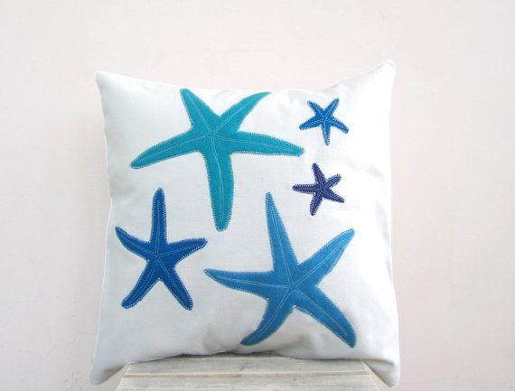 Throw pillow blue turquoise starfish pillow for beach: Starfish Pillows, Beaches Rooms, Nautical Pillows, Friends Beaches, Nautical Nurseries, Beaches Houses, Beaches Pillows, Pillows Blue, Beaches Bedrooms