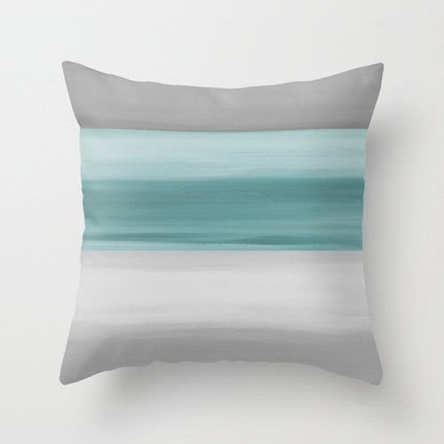 Abstract Throw Pillow Cover Grey Muted Teal Modern Home Decor Living room bedroom accessories Cushion Cover Decorative Pillow Cover