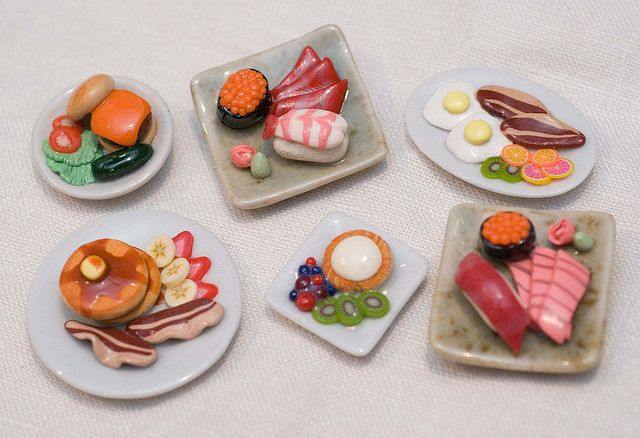 polymer clay food miniature meal plate magnets - yummy