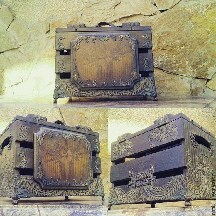 Купить Винтажный короб - шкатулка ручной работы, шкатулка для украшений, подарок, короб для хранения