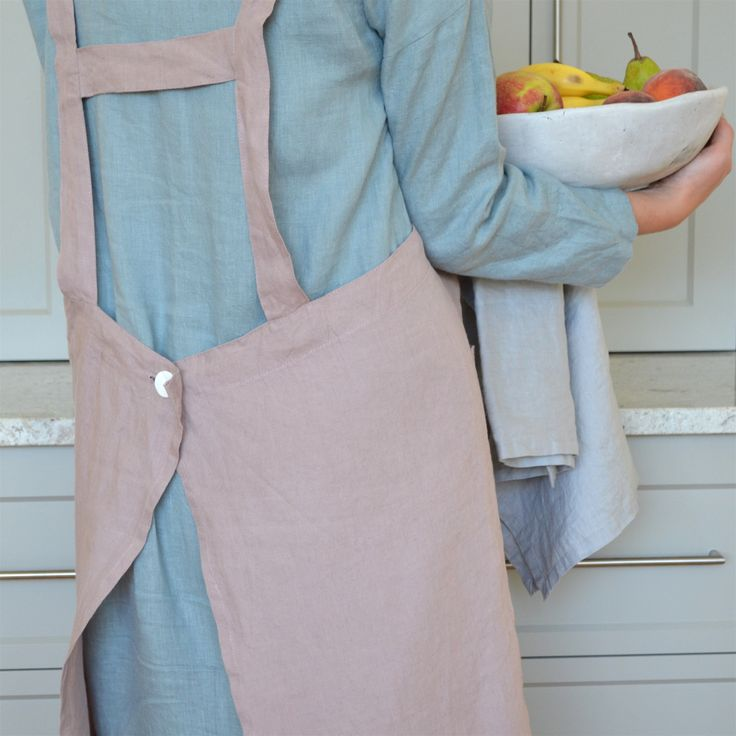 Adult 100% stonewashed French linen apron in Rosewood colour.