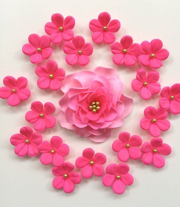 19 flower cake topper edible fondant flowers decorations wedding baby shower bridal hot pink gold ombre rose cherry blossoms Mother's Day by InscribingLives (19.99 USD) http://ift.tt/1ZJlY6w
