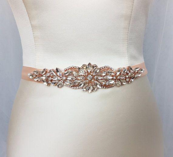 Rose gold belt, rose gold, bridal belt, wedding belt, rose gold sash, rhinestone belt, wedding dress belt, diamante belt, gold bridal belt