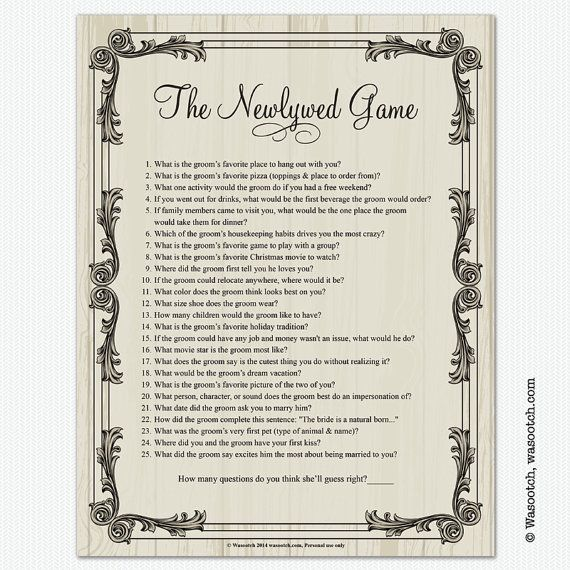 Vintage antique white washed carved wood look frame Newlywed Game bridal shower game. This vintage style bridal shower wedding shower newlywed game was
