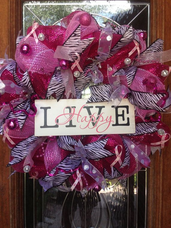 Breast Cancer Awareness Deco mesh wreath on Etsy, $125.00