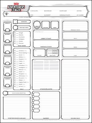 Official Character Sheets [Standard, Starter Set, Adventurers League] (Free PDF)