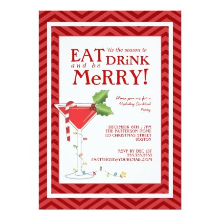 Eat Drink & be Merry Christmas Cocktail Party Card - tap, personalize, buy right now!