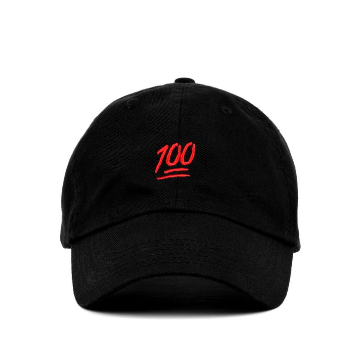 A 100% soft cotton strapback hat, with low profile build and metal buckle. Featuring the 100 emoji embroidery. Offered in Black or Khaki colorways.