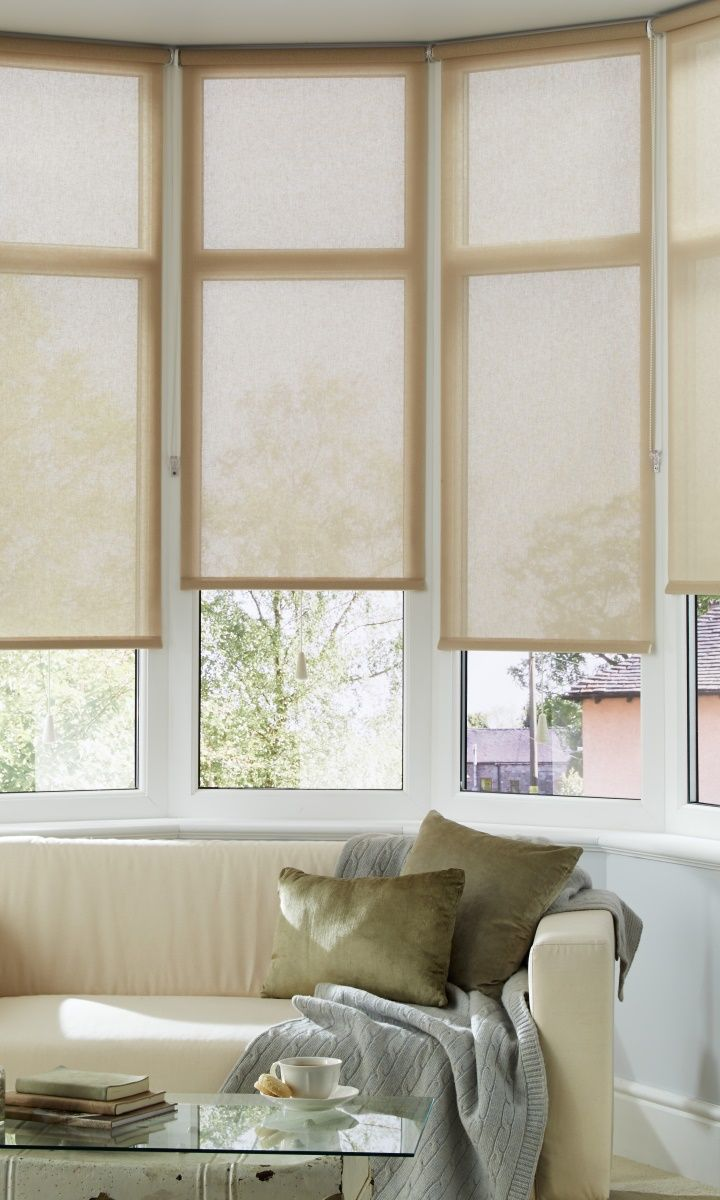 Use a mix of tonal shades of beige and cream to create a calming backdrop to any room, mix textures to bring another dimension. Made to measure Tatum Beige Roller Blind adds a sheer texture to the room.
