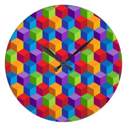 Rainbow Colorful Block Cube Pattern Large Clock - patterns pattern special unique design gift idea diy