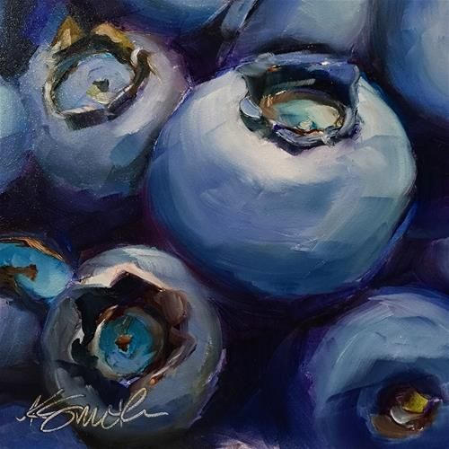 """Daily Paintworks - """"blueberries"""" - Original Fine Art for Sale - © Kim Smith"""