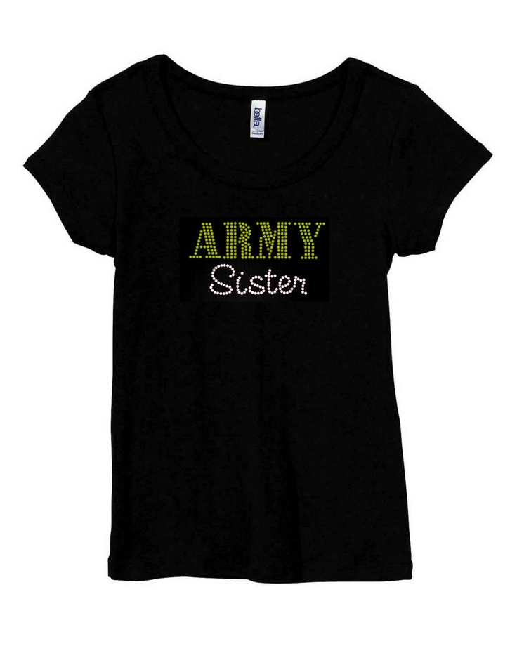 Army+Sister+RHINESTONE+Military++Black+Scoop+Neck+by+RhineDesigns,+$21.95