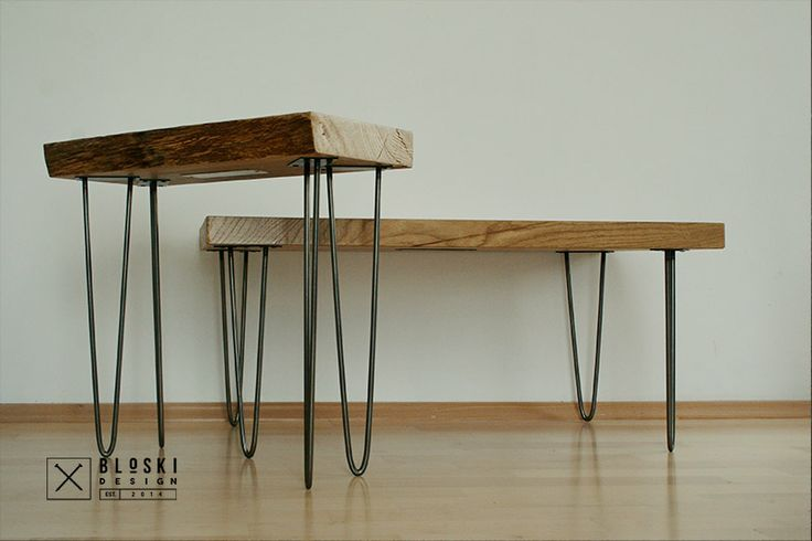 nice Bloski design couple... bedside and coffee table, oak and steel