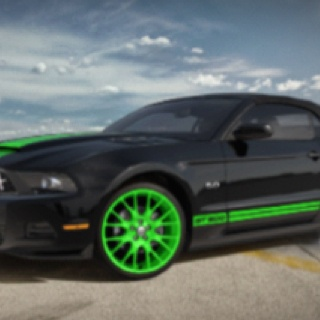 Dream car. Mustang Shelby GT500 black with lime green