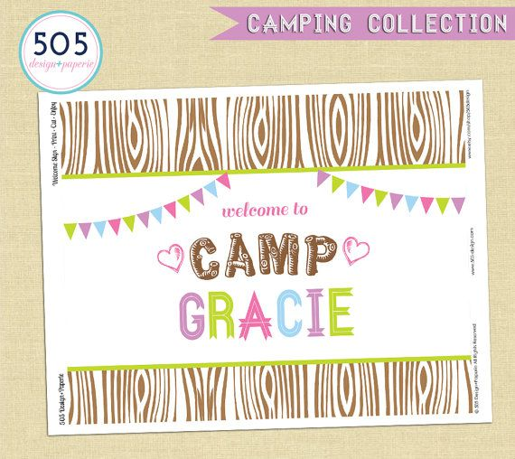Camping Party Decorations - Girls Camping Party Decor by 505 Design Paperie